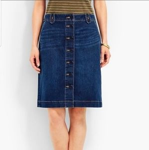 Talbots denim button front skirt Nautical Buttons